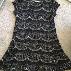 Urban outfitters black and nude lace dress
